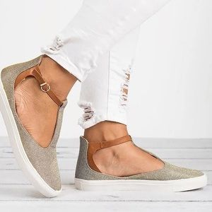 Shoes - T Strap Glittered Sneaker